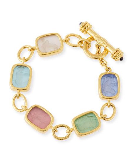 Antique Animals Intaglio 19k Gold Toggle Bracelet, Pastel