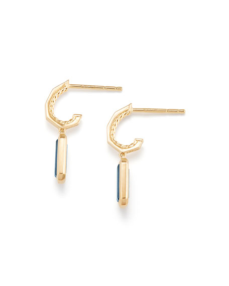 Novella 18k Hoop Drop Earrings w/ Blue Topaz