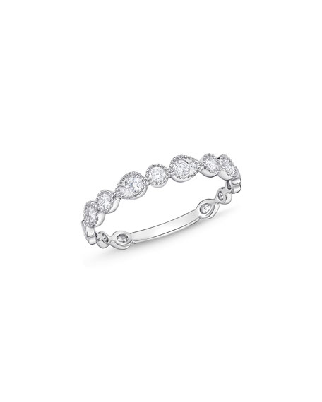 Stack 'Em Up Beveled Teardrop Band Ring with Diamonds