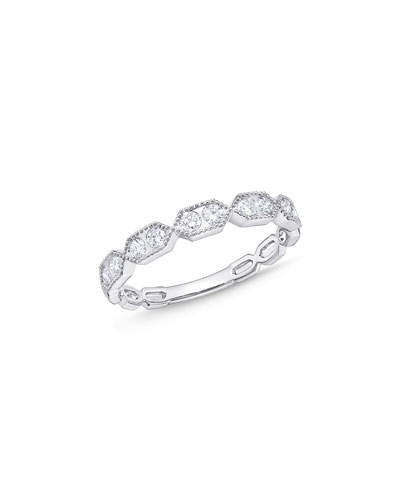 Stack 'Em Up Hexagon Diamond Duo Stacking Ring in 18K White Gold