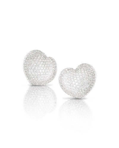 Small Pavé Diamond Heart Stud Earrings
