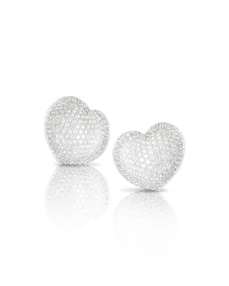 Small Pave Diamond Heart Stud Earrings