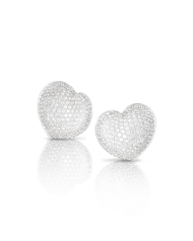 Small Pave Diamond Heart Stud Earrings