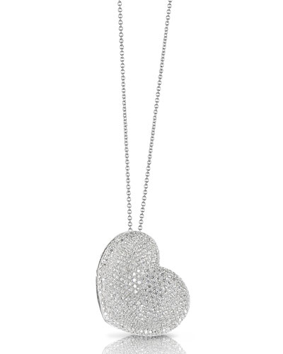 Pavé Diamond Heart Necklace in 18K White Gold