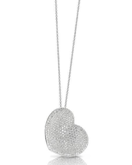 Pavé Diamond Heart Necklace in 18K White Gold