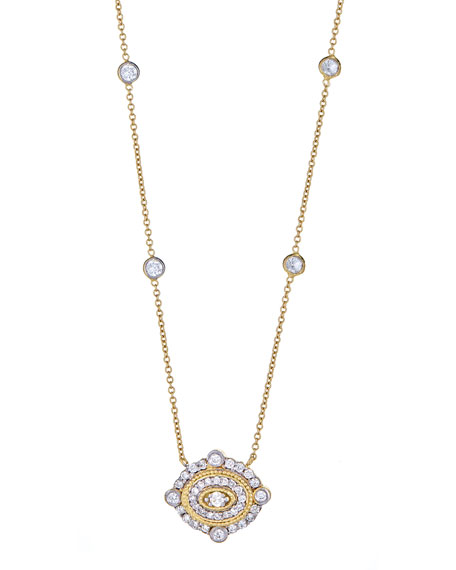 Art Deco Diamond Pendant Necklace in 18K Gold