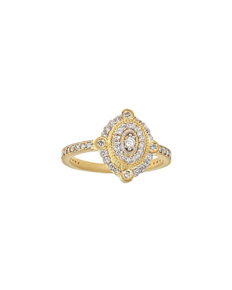 Deco Diamond Oval Ring in 18K Gold