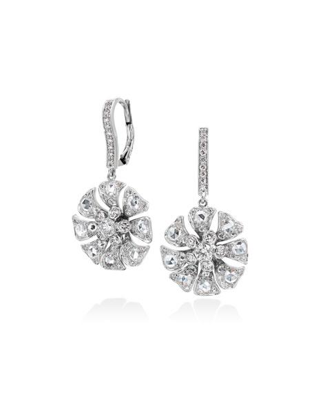 Aster Flower Drop Earrings with Diamonds