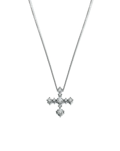Diamond Cross Pendant Necklace in 18K White Gold
