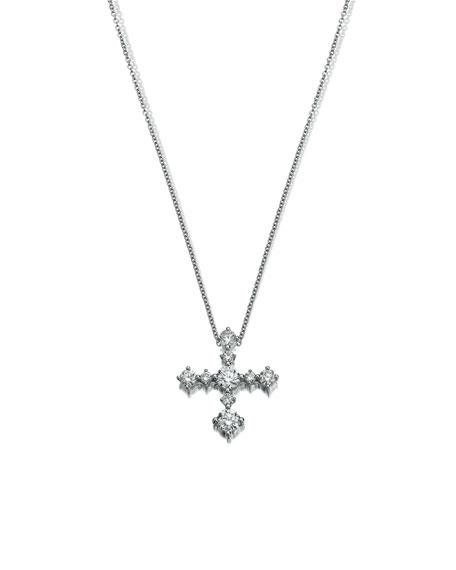 Diamond Cross Pendant Necklace in 18K White Gold
