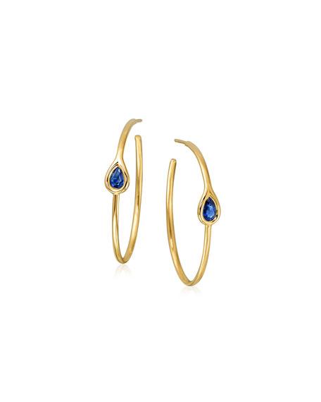 Blue Sapphire Teardrop Hoop Earrings