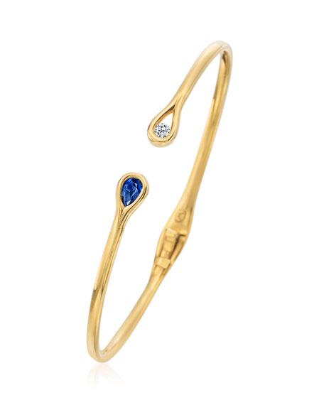 Hinged Diamond & Blue Sapphire Cuff Bracelet