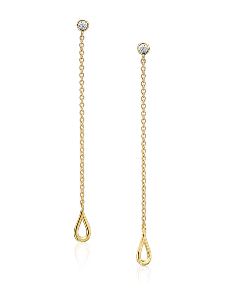 Diamond & Open Teardrop Chain Earrings