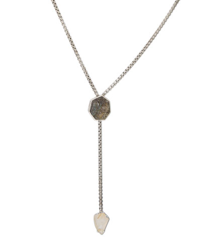 Carved Freeform Labradorite Lariat Necklace