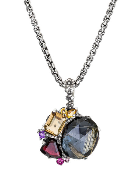 Flower Engraved Pendant Necklace w/ Mixed Stones