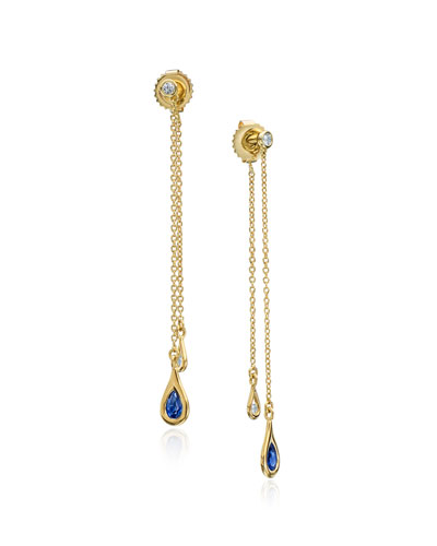 Double-Drop Diamond & Blue Sapphire Chain Earrings