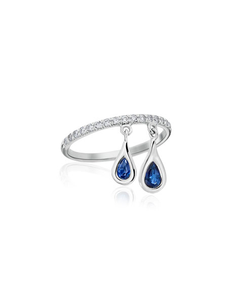 Dangling Sapphire Teardrop Ring with Diamonds, Size 5.5