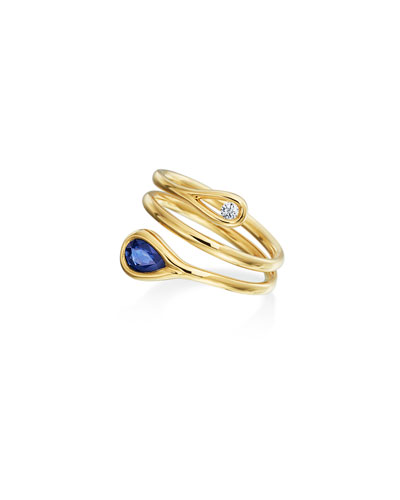 Sapphire & Diamond Wrap Ring in 18K Gold, Size 7.5