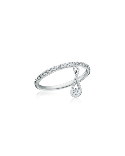 Diamond Band Ring with Diamond Teardrop Charm, Size 5.75