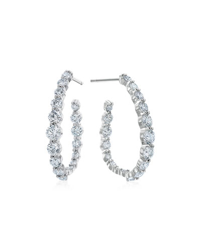 Pear-Shaped Hoop Earrings with Diamonds, 2.38 tdcw