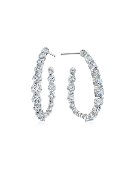 Pear-Shaped Hoop Earrings with Diamonds, 2.38 tdcw