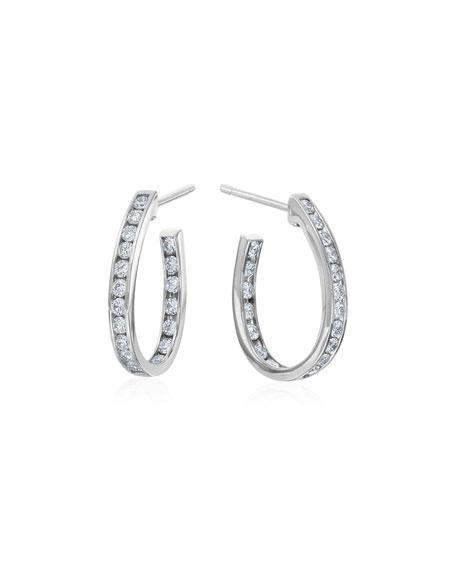 Small Channel-Set Diamond Hoop Earrings