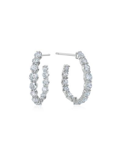 Pear-Shaped Hoop Earrings with Diamonds, 1.66 tdcw