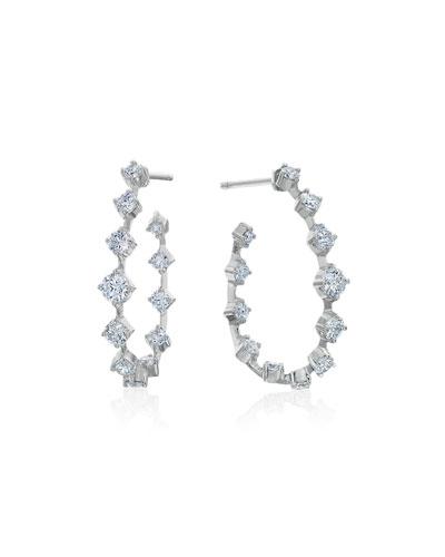 Pear-Shaped Wire Hoop Earrings with Diamonds