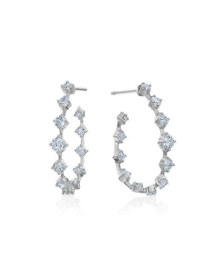 Pear-Shaped Wire Hoop Earrings with Diamonds