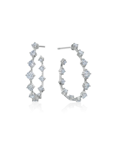 Small Pear-Shaped Wire Hoop Earrings with Diamonds