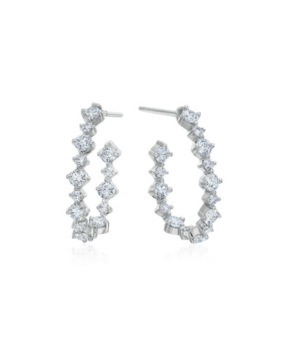 Pear-Shaped Hoop Earrings with Diamonds