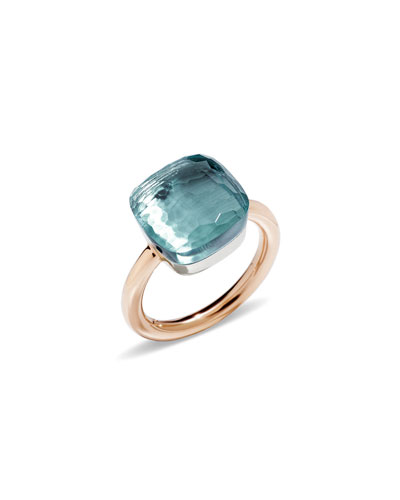 Nudo Faceted Blue Topaz Ring, Size 54