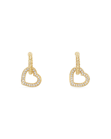 18k Diamond Heart-Link Drop Earrings