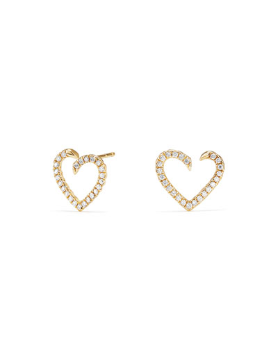 18k Diamond Pavé Heart-Wrap Stud Earrings