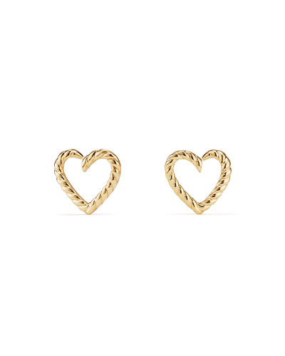 18k Heart-Wrap Cable Stud Earrings
