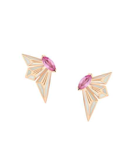 Fly by Deco Drive 18k Pink Sapphire Stud Earrings