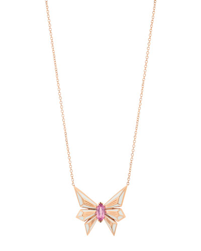 Fly by Night 18k Pink Sapphire Pendant Necklace