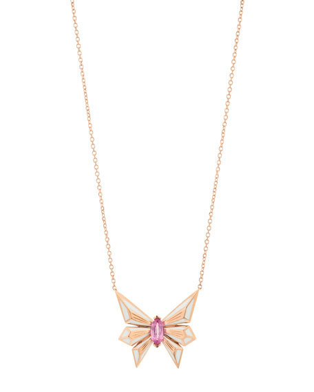 Fly by Deco Drive 18k Pink Sapphire Pendant Necklace