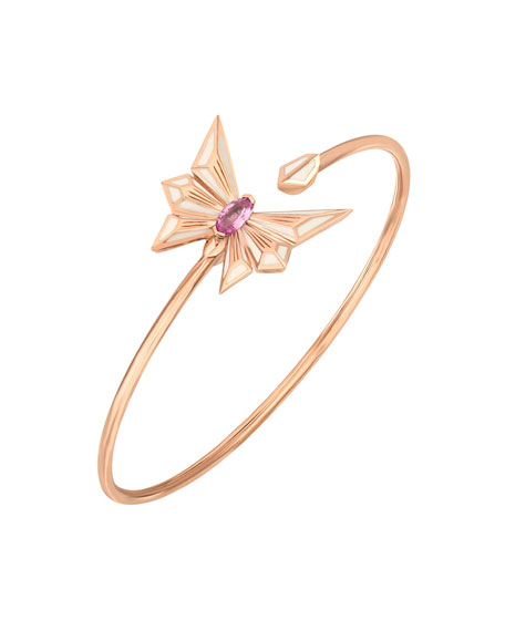 Fly by Deco Drive 18k Gold Pink Sapphire Flex Bangle