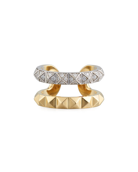 18k Rock & Diamond Double-Row Ring, Size 6.5