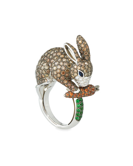 18k Diamond & Sapphire Rabbit Ring, Size 8.75