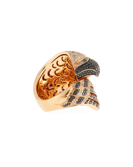 18k Coiled Diamond Falcon Ring, Size 6.5