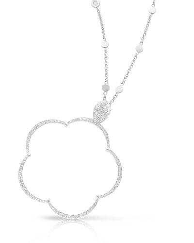 Ton Jolie Diamond Floral Pendant Necklace in 18k White Gold