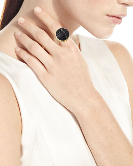 18k Constellation Lava Rock Ring w/ Black Diamonds