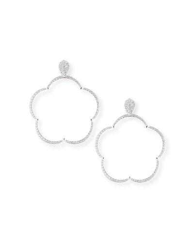 Ton Jolie Diamond Floral Hoop Drop Earrings in 18k White Gold
