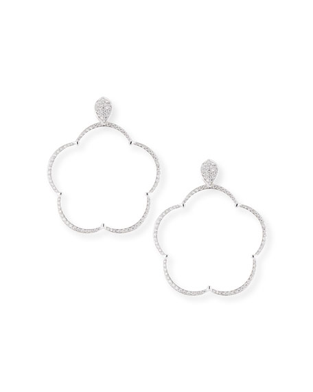 Ton Jolie Diamond Floral Hoop Drop Earrings in 18k White Gold