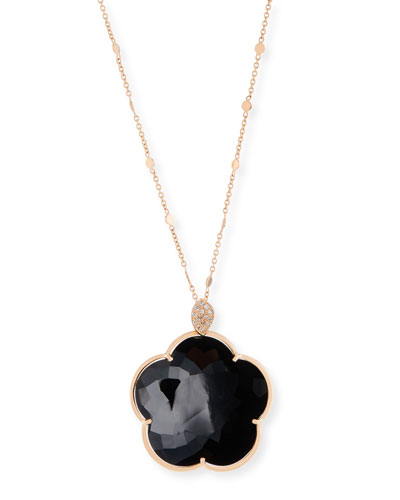 Bon Ton 18k Black Onyx Floral Pendant Necklace w/ Diamonds