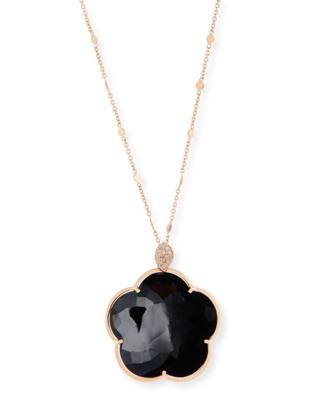 Bon Ton 18k Black Onyx Floral Pendant Necklace w/ Diamonds