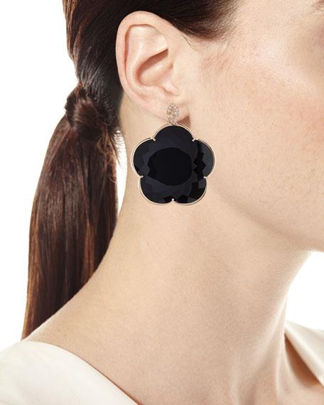 18k Bon Ton Jolie Black Onyx & Diamond Floral Earrings