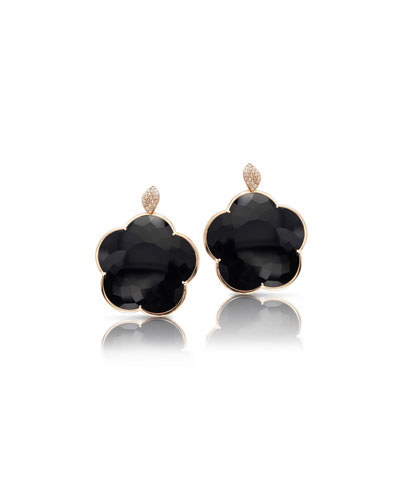 18k Bon Ton Jolie Black Onyx & Diamond Floral Earrings